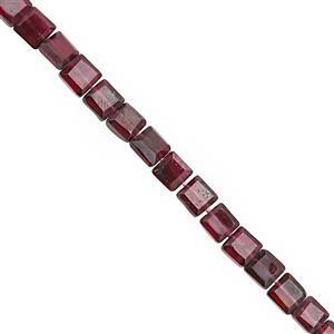 55cts Rhodolite Garnet Center Drill Graduated Faceted Square Approx 3 to 4.50mm, 31cm Strand