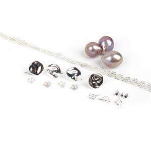 Sweet Pearl O'Mine; 925 Sterling Silver Amerthyst Stud Peg, Half Drilled Baroque Pearl, Chain & Silver Pebble Earrings