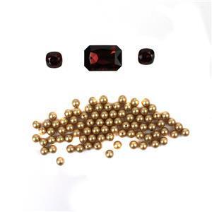 Winter Berries; Swarovski Burgundy Crystal Faceted Octagon, Cushion Cut Stones & 6mm Pearl