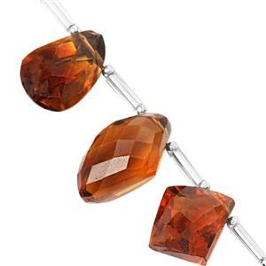 22cts Madeira Citrine Graduated Faceted Fancy Shape Approx 13.5x7 to 15x12mm, 7cm Strand with Spacers