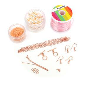 Perfect Rose: Miyuki Delica 11/0 Flesh AB, Creamrose 8mm Swarovski pearls, cord & findings