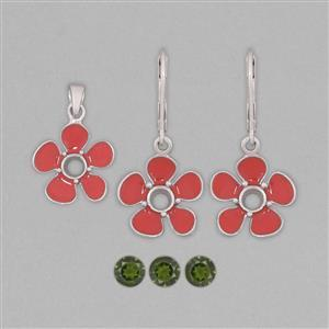 925 Sterling Silver Red Enamelled Colour Pendant & Earrings Mount Kit Inc. 1.5cts Chrome Diopside 5mm Round