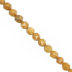 85cts Yellow Mookite Faceted Star Cut Approx 6.5 to 7.5mm, 28cm Strand