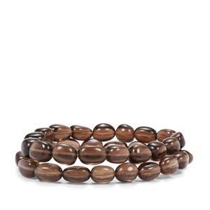 173ct Smokey Quartz Set of 2 Tumble Bead Elastic Bracelet