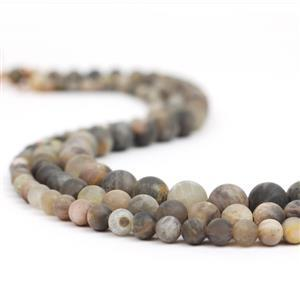 500Cts Grey Sunstone Frosted Round 3strands,Appox 6mm 8mm 10mm, 38cm/ strand