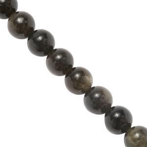 140cts Golden Obsidian Plain Rounds Approx 8mm, 37cm Strand.