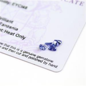 0.9cts  Tanzanite 4x4mm Triangle Pack of 4 (H)