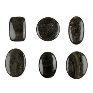 250cts Golden Obsidian Multi Shape Cabochons Assortment.