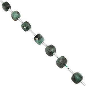 45cts Emerald Graduated Faceted Cube Approx 5 to 7.50mm, 18cm Strand with Spacers