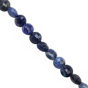 25cts Sodalite Faceted Puffy Coin Approx 4.50 to 5mm, 30cm Strand