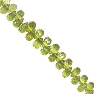 60cts Peridot Top Side Drill Graduated Faceted Drop Approx 3x4 to 5x8.5mm, 20cm Strand