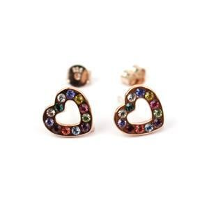 Rose Gold Plated 925 Sterling Silver Heart With Swarovski Crystals Approx 9.5mm Earrings With Loop (1 Pair)