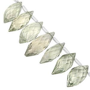 100cts Green Amethyst Top Side Drill Graduated Faceted Rice Beads Approx 11x6 to 19x7mm, 23cm Strand with Spacers