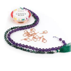 Sparkly Star Quartz Kit; Quartz Rounds, Moss Agate & Rose Gold Plated Copper Wire