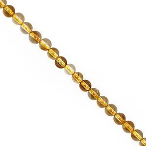 30cts Citrine Smooth Round Approx 3.50 to 4.50mm, 30cm Strand
