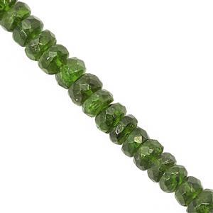 32cts Chrome Diopside Faceted Rondelle Approx 2x1 to 4x2.5mm, 19cm Strand