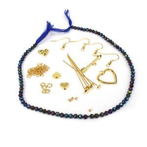 True Blue; Gold Colour Base Metal Heart Findings &  Mystic Blue Coated Spinel Faceted 4mm