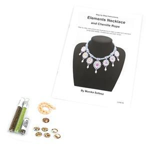 Earth Kit; Seedbeads, Oval Rhinestones & Shell Pearl Drops with Booklet by Monika Soltesz
