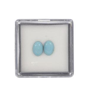1cts Sleeping Beauty Turquoise Cabochon Oval Approx 7x5mm Loose Gemstone (Pack of 2)