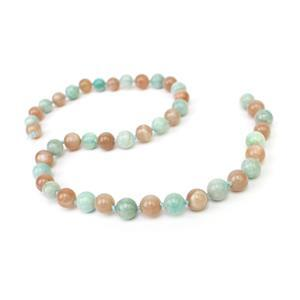 150cts Peach Moonstone & Amazonite Plain Rounds Approx 8mm, 38cm 2 Tone Strand