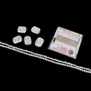 Boutique Chic; White Freshwater Cultured Rectangle, Seed & Potato Pearls, Silk Thread sz04