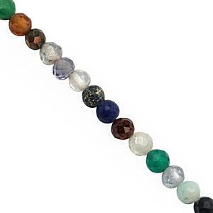 10cts Multi Gemstone Micro Faceted Round Approx 2mm, 31cm Strand