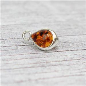 Baltic Cognac Amber Pear Shape Cabochon Sterling Silver Pendant with Loop Approx 7x12mm