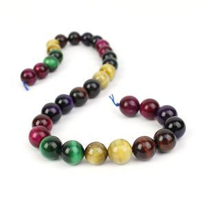 390cts Multi Colour Tiger's Eye Plain Rounds Approx 12mm, 38cm Strand