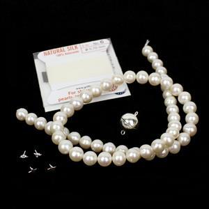 Silver Bee and Star Pearl Drilling Kit; 925 Sterling Silver Bee and Star Pegs with White Freshwater Pearls, Silk & Clasp