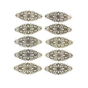 Antique Bronze Plated Oxidised Copper Flower Connectors - 80x35mm (10pcs/pk)