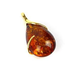 Baltic Cognac Amber Gold Plated Sterling Silver Teardrop Wrap Pendant Approx. 40x21mm