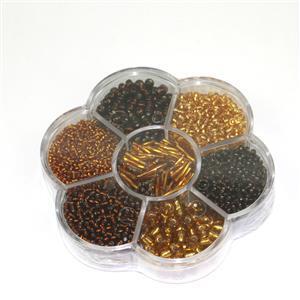Preciosa Ornela Rocialles Flower Gift Box - Gold Beads Mix