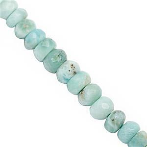 50cts Larimar Graduated Faceted Rondelle Approx 4x2 to 6x4mm, 20cm Strand