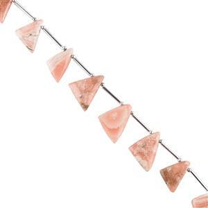 80cts Rhodochrosite Graduated Plain Triangular Slices Approx 12x11 to 20x15mm, 16cm Strand.