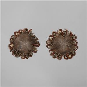 Brown Feathers Flower Base Approx  12cm 2pcs/set