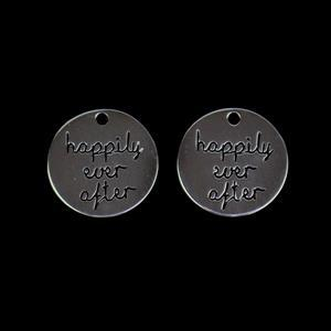 925 Sterling Silver Happily Ever After Round Pendants Approx 18mm 2pcs