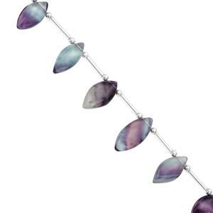 72cts Multi-Colour Fluorite Smooth Marquise Approx 17x8 to 22x11mm, 17cm Strand with Spacers