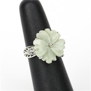 7.58ct Type A Moss-In-Snow Burmese Jade Sterling Silver Flower Ring . Size 5