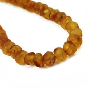 Baltic Frosted Cognac Amber Nuggets Strand, Approx. 6-9mm, 20cm