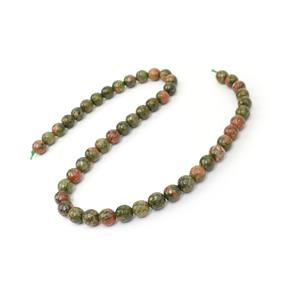 180cts Unakite Faceted Rounds Approx 8mm, 38cm Strand