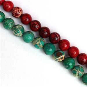 Festive Terra Jasper 8mm Bundle. Inc Green & Red Terra Jasper Plain Rounds.