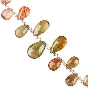 25cts Andalusite Graduated Faceted Pears Approx 7x5 to 10x7mm, 8cm Strand.