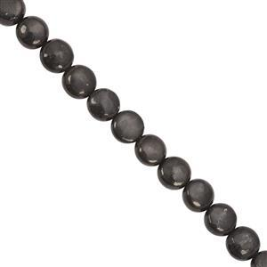 98cts Russian Shungite Smooth Coin Approx 7.5 to 8mm, 40cm Strand