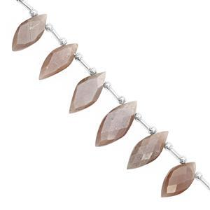 75cts Chocolate Moonstone Top Side Drill Faceted Marquoise Approx 15.5x7 to 23x11mm, 21cm Strand with Spacers