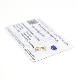 9K Gold Burmese Ble Sapphire Pear Pendant, Inc; 0.6cts Burmese Blue Sapphire & 9K Mount