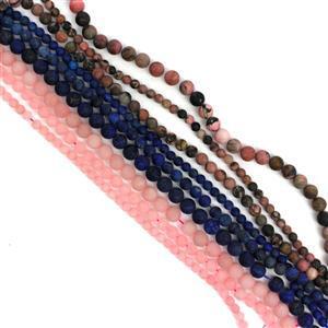1940cts 9 Strands! Inc; Matt Finish Lapis, Rhodonite & Rose Quartz.