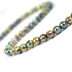 90cts Coated Yellow & Green Stripe Agate Faceted Rounds Approx 6mm, 38cm Strand