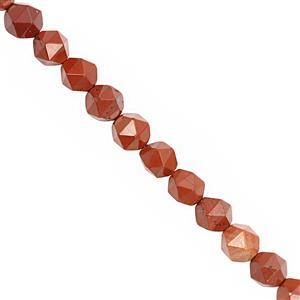 102cts Red Flame Jasper Faceted Star Cut Approx 7 to 8mm, 28cm Strand