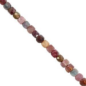 65cts Multi-Colour Tourmaline Faceted Cube Approx 4mm, 38cm Strand
