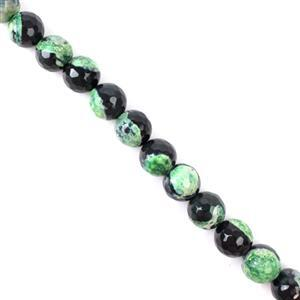 340cts Black & Green Agate Faceted Rounds Approx 12mm, 38cm strand